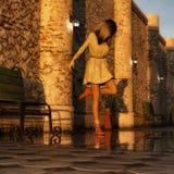 Het dansen in de regen bij zonsondergang Royalty-vrije Stock Foto