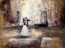 Het dansen in de zaal stock afbeeldingen