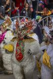 Het dansen draagt in Oruro Carnaval, Bolivië royalty-vrije stock fotografie