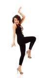 Het dansen gelukkige jonge aantrekkelijk van het partijmeisje Stock Afbeeldingen