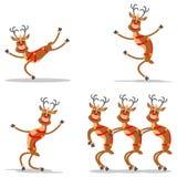 Het dansen Herten van Santa Claus Stock Foto