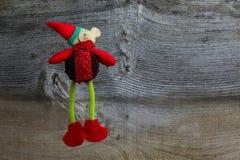 Het dansen Kerstmis Teddy And Rustic Elm Wood Stock Foto's