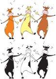 Het dansen koeien stock illustratie