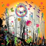 Het dansen meisje-regenboog vector Stock Foto