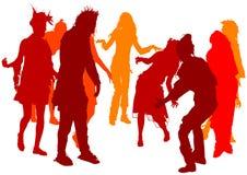 Het dansen meisjesmenigte Royalty-vrije Stock Foto's