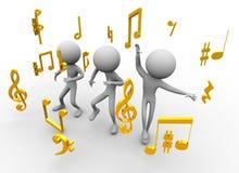 Het dansen met muzieknota's vector illustratie