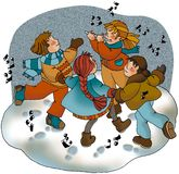 Het dansen op de sneeuw stock foto