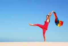 Het dansen op het strand Stock Foto