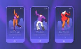 Het dansen Retro Reeks van het Karakterslandingspagina De opgewekte Man en de Vrouw hebben Pret bij Nachtpartij De Danser Concept royalty-vrije illustratie