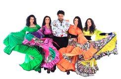 Het dansen Roma.Isolated stock afbeelding