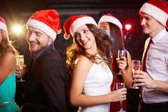 Het dansen Santas Stock Foto's