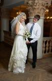 Het dansen van de bruidegom en van de bruid Stock Afbeeldingen