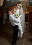 Het dansen van de bruidegom en van de bruid Royalty-vrije Stock Foto
