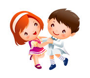 Het dansen van de jongen en van het Meisje Royalty-vrije Stock Foto