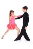 Het dansen van de jongen en van het meisje balzaaldans Stock Afbeelding