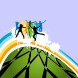 Het dansen van silhouetten Royalty-vrije Stock Fotografie