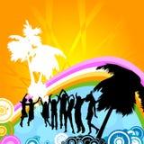 Het dansen van silhouetten Stock Fotografie