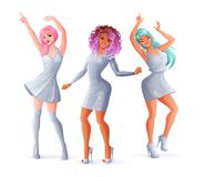 Het dansen van vrouwen in zilver kleedt zich sparkly Geïsoleerdee vectorillustratie royalty-vrije stock foto's