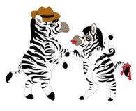 Het dansen zebras Stock Afbeeldingen