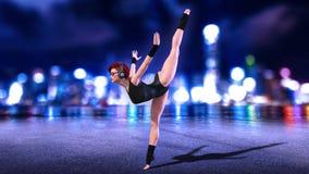 Het dansersmeisje die bevindende gespleten oefening, roodharigevrouw doen die hoofdtelefoons met stadshorizon dragen bij 3D nacht Stock Illustratie