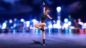 Het dansersmeisje met hoofdtelefoons, het dansen roodharigevrouw het stellen met de horizon van de nachtstad op 3D achtergrond, g Vector Illustratie