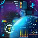 Het dashboard futuristisch van interface vectorhud omgezet spacepanel met de omzetting van hologramtechnologie op digitale bar royalty-vrije illustratie