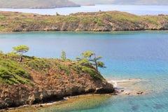 Het Datcaschiereiland verstrekt een natuurlijke grens Stock Foto's