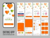 Het dateren van app gebruikersinterfacelay-out voor ontvankelijke mobiele toepassing royalty-vrije illustratie