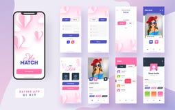 Het dateren van app ui uitrusting voor ontvankelijke mobiele toepassing of website met verschillende guilay-out stock illustratie