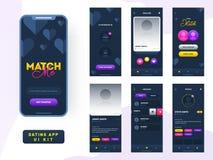 Het dateren van app ui uitrusting voor ontvankelijke mobiele toepassing of website met verschillende guilay-out royalty-vrije illustratie