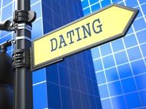 Het dateren - voorzie op Blauwe Achtergrond van wegwijzers Stock Foto
