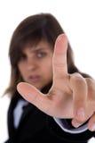 Het de aanrakingsscherm van de onderneemster met vinger Royalty-vrije Stock Foto
