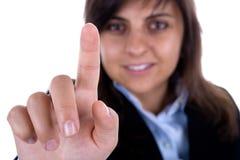 Het de aanrakingsscherm van de onderneemster met vinger Royalty-vrije Stock Afbeeldingen
