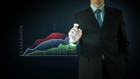 Het de Aanrakingsscherm van de zakenmanwisselwerking stock video