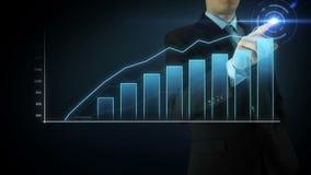 Het de Aanrakingsscherm van de zakenmanwisselwerking stock videobeelden