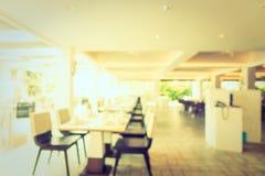 Het de abstracte winkel en restaurant van de onduidelijk beeldkoffie Stock Foto