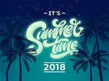 Het de achtergrond van de de zomertijd 2018 van ` s met palm en nachthemel Vectorachtergrond met moderne typografie voor banner,  vector illustratie