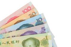 Het de bankbiljettengeld van Chinees of van Yuans van de munt van China, sluit omhoog Stock Foto's