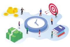 Het de besparingsconcept van het tijdbeheer met teammensen die samen met doelstellingen van de geld de grote klok werken richt en royalty-vrije illustratie