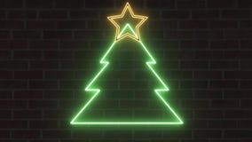 Het de boomneon van neonkerstmis zingt banner met ster zacht knipoogje en trilling op bakstenen muurachtergrond - Nieuwe kwalitei stock illustratie