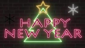 Het de boomneon van neonkerstmis zingt gelukwensbanner met ster en sneeuwvlokken zacht knipoogje en trilling op bakstenen muur stock illustratie