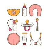 Het de borst geven Gekleurde vlakke pictogrammen motherhood Vector stock illustratie