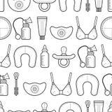 Het de borst geven Naadloos patroon, achtergrond met lineaire vlakke pictogrammen motherhood royalty-vrije illustratie