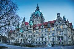 Het de bouw Nieuwe Stadhuis in Hanover, Duitsland Stock Foto's