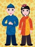 Het de Chinese Jongen en Meisje van het Beeldverhaal Royalty-vrije Stock Foto's