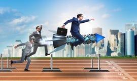 Het de concurrentieconcept met zakenman en raket royalty-vrije stock afbeeldingen