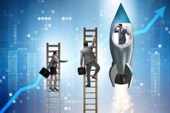 Het de concurrentieconcept met zakenman op raket royalty-vrije stock fotografie