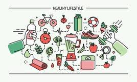Het de de illustratie gezonde levensstijl, sport en voedsel van de lijnkunst hebben de vlakke kleurrijke vector bezwaar Stock Foto's
