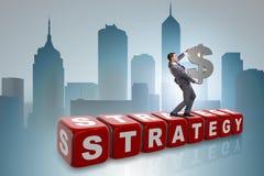 Het de dollarteken van de zakenmanholding in strategieconcept Stock Afbeelding