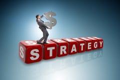Het de dollarteken van de zakenmanholding in strategieconcept Stock Fotografie